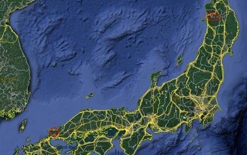 일본 방위성이 '이지스 어쇼어' 유력 배치 후보지로 꼽고 있는 아키타현과 야마구치현(왼쪽 동그라미).