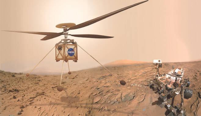 2021년부터 화성에서 날아다닐 드론(왼쪽)의 상상도. 관측한 지형 정보를 지상 로봇과 공유하며 목표물만 지구 관측소가 정하면 인공지능으로 자율 비행을 한다. 개발 최종 단계의 화성용 드론. 몸체 무게는 1.8㎏이며, 태양광으로 충전되는 리튬이온 배터리를 탑재했다. 현재 화성 지표면에는 2012년부터 탐사 로봇 큐리오시티(Curiosity·오른쪽)가 운용되고 있다. 미국항공우주국(NASA) 제공