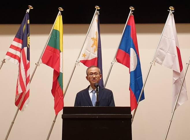임성남 주아세안대표부 대사가 11일 일본 오다와라에서 개최된 제17차 동아시아포럼에 우리측 수석대표로 참석해 기조연설을 하고 있다. /사진=외교부 제공