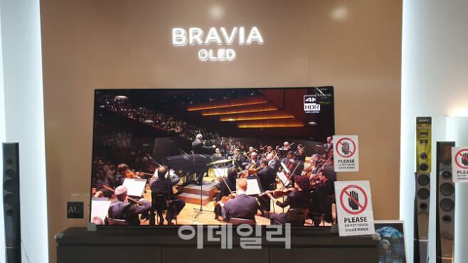 일본 전자 업체 소니(SONY)가 해외 시장에 판매 중인 OLED(유기발광다이오드) TV. 우리 정부가 일본에 OLED 패널 수출 등을 규제해 맞대응할 경우 사실상 OLED TV 생산이 어려워질 전망이다. (사진=김종호 기자)