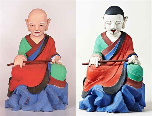 전북 전주 서고사에 봉안돼 있던 '나한상(1695)'. 원래 모습은 왼쪽과 같은 초로의 노승이었으나, 권씨가 도색공을 고용해 젊은 수도승의 모습으로 바꾸어 놓았다. 서울경찰청 제공
