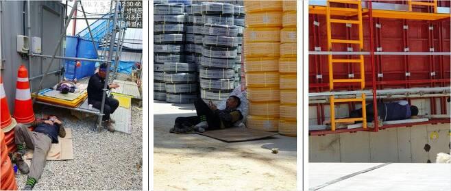 건설 노동자들이 폭염에도 그늘막 없이 휴식을 취하고 있다 (사진=건설노조 제공)