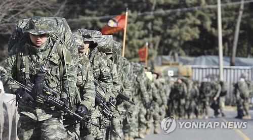 해병대 수색대대 장병들의 천리행군 [자료사진. 해병대 제공]