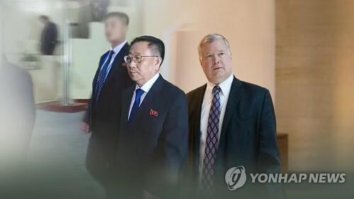 北김명길-美비건 실무협상(CG) [연합뉴스TV 제공]