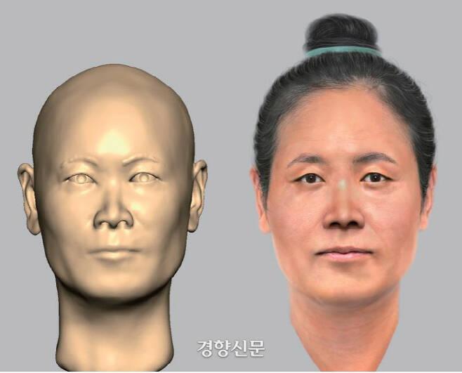 영산강 유역 드넓은 평야를 다스린 5세기 말 6세기 초 마한 토착세력의 지도자가 묻힌 것으로 추정되는 정촌고분의 피장자는 40대 여성이었다는 연구결과가 나왔다. 사진은 발굴된 인골을 분석해 복원한 얼굴이다. |국립나주문화재연구소 제공