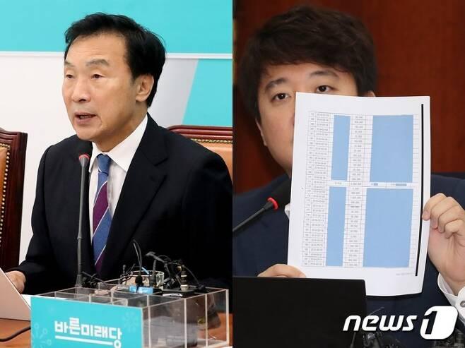 손학규 바른미래당 대표(왼쪽)과 이준석 전 최고위원. © 뉴스1
