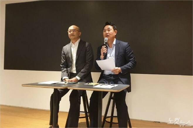 카카오 조수용.여민수 공동대표가 25일 카카오 판교오피스에서 기자간담회를 열고 뉴스 및 검색서비스 개편 계획에 대해 설명하고 있다.(사진=김수영 기자)