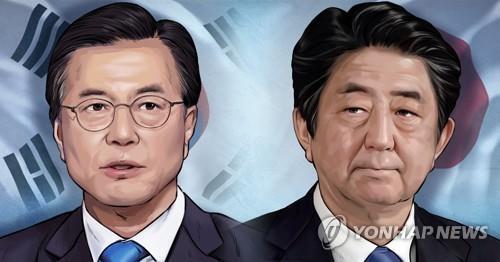 문재인 대통령-일본 아베 총리(PG) [장현경 제작 일러스트]