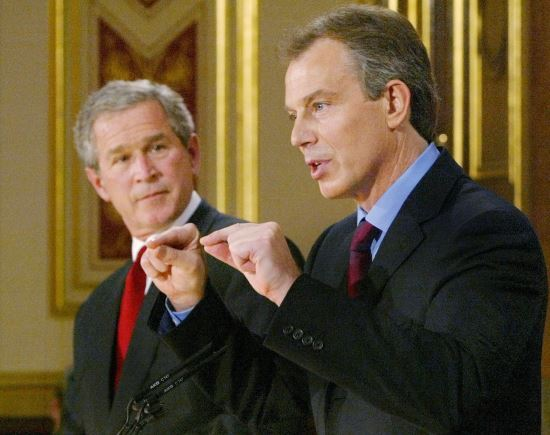 조지 부시 전 미국 대통령(왼쪽)과 토니 블레어 전 영국 총리. 사진=국민일보DB