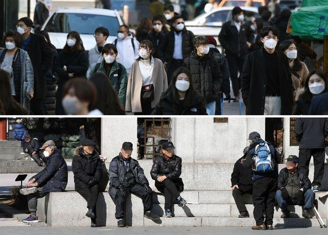 3일 오후 서울 마포구 홍대입구역 부근에서 젊은이들 대다수가 마스크를 쓰고 거리를 걷고 있는 데 반해(위 사진) 이날 종로구 탑골공원에 나온 노인들은 대부분 마스크를 착용하지 않고 담소를 나누고 있다. 홍인기 기자