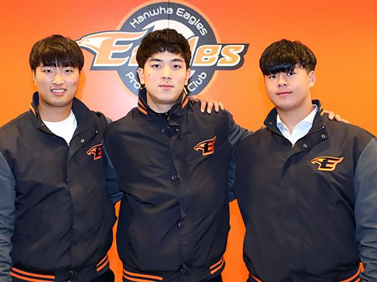한화의 2019 신인 상위 지명 3인조. 왼쪽부터 변우혁, 유장혁, 노시환 순(사진=한화)