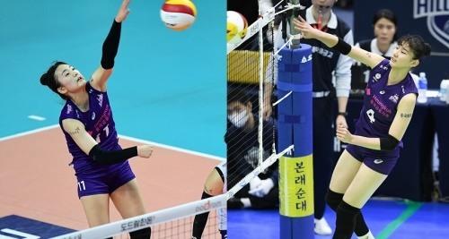 스파이크 하는 박현주(왼)와 속공을 시도하고 있는 이주아. [사진=KOVO]
