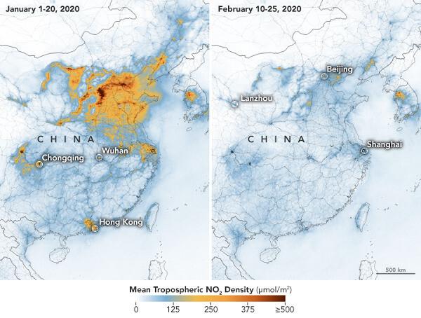 우한 봉쇄령 이전과 이후의 중국 대기의 이산화질소 농도 변화. 나사 제공