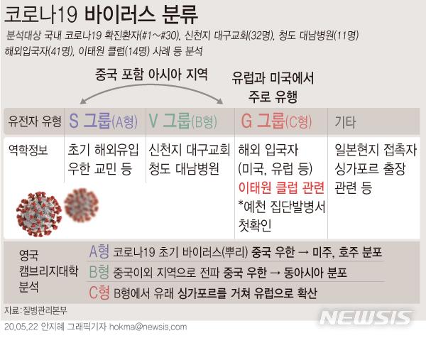 [서울=뉴시스]방역당국이 국내 코로나19 확진환자들의 바이러스 유전자를 분석한 결과 각 그룹별로 바이러스 계통이 다른 것으로 나타났다. (그래픽=안지혜 기자)  hokma@newsis.com