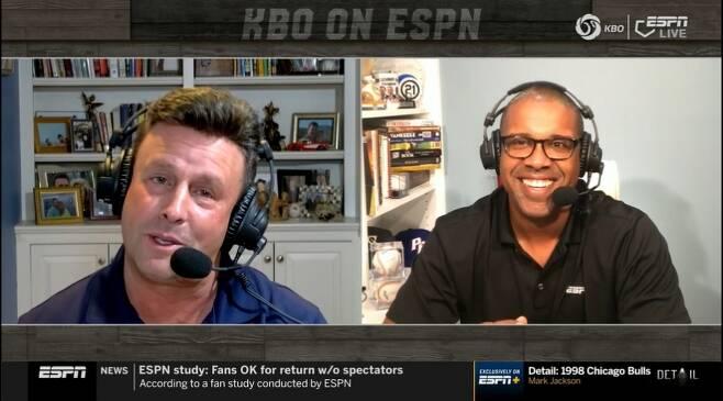 ▲ KBO리그는 ESPN의 전세계 네트워크를 통해 130개국에 생중계된다. MLB와 NPB도 못한 야구의 세계화를 KBO리그가 선도하고 있다. ⓒESPN 중계 화면 캡처