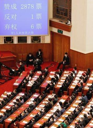 중국 전국인민대표대회가 28일 베이징 인민대회당에서 전체회의를 열고 홍콩 국가보안법을 통과시켰다. 이번 표결에는 전인대 대표단 2885명이 참여했으며 찬성 2878표, 반대 1명, 기권은 6명이었다. 로이터뉴스1