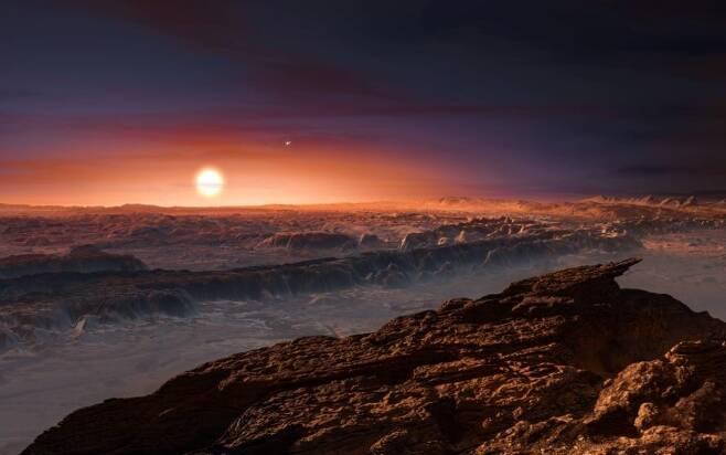 적색왜성 '프록시마 켄타우리'와 외계행성 '프록시마 b' 상상도 [ESO/M. Kornmesser 제공. 재판매 및 DB 금지]