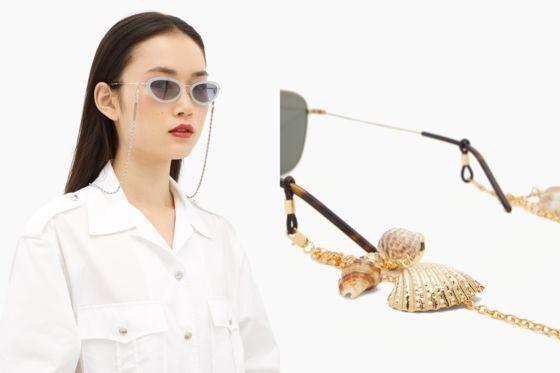 안경 체인을 단 복고풍 틴트 선글라스를 낀 모델(왼쪽)과 조개 소라껍질을 장식으로 단 안경 체인. 모두 '프레임 체인' by 매치스패션 제품.