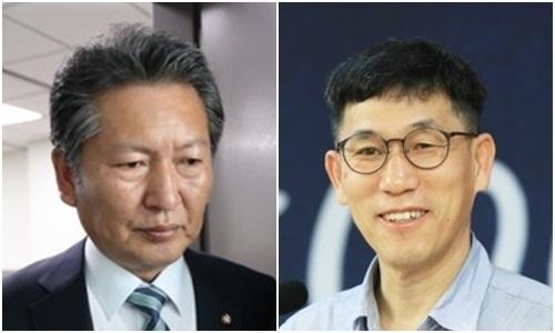정청래 더불어민주당 의원(왼쪽)과 진중권 전 동양대 교수. 연합뉴스