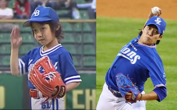 2005년 삼성 시구에 나선 꼬마 원태인. 그는 이제 삼성의 에이스로 성장하고 있다. / KBS 유튜브 캡쳐, 연합뉴스