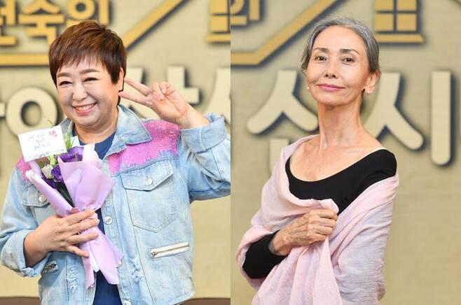 ▲ KBS2 '박원숙의 같이 삽시다 시즌2' 제작발표회에 참석한 혜은이(왼쪽사진), 문숙. 제공|KBS