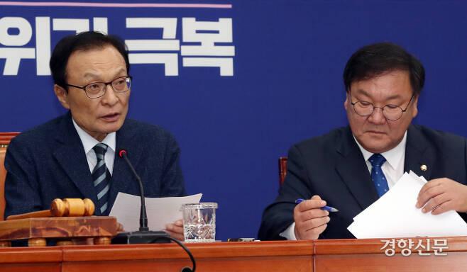 더불어민주당 이해찬 대표(왼쪽)와 김태년 원내대표(오른쪽). 김영민 기자