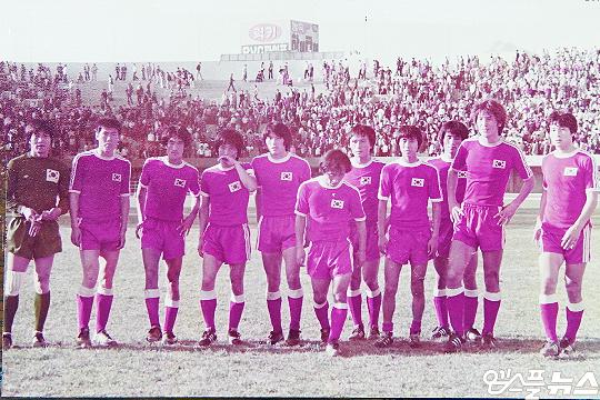 한국 축구 대표팀 원조 장신 스트라이커 김재한(사진 맨 오른쪽에서 두 번째)(사진=김재한 제공)