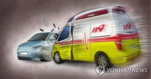 119 구급차-승용차 교통사고(PG) [제작 이태호] 사진합성, 일러스트