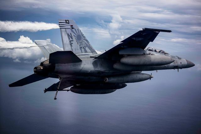 미 태평양함대 제5항공모함타격단 102전투공격비행대대 소속 F/A-18F 함재기가 꼬리날개에 선명한 욱일 문양 도장을 한 채 남중국해에서 훈련하고 있다. 미 태평양공군 사령부 제공