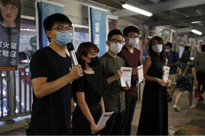 홍콩보안법 비난하는 홍콩 민주화 시위 주역 조슈아 웡. (사진=연합뉴스)