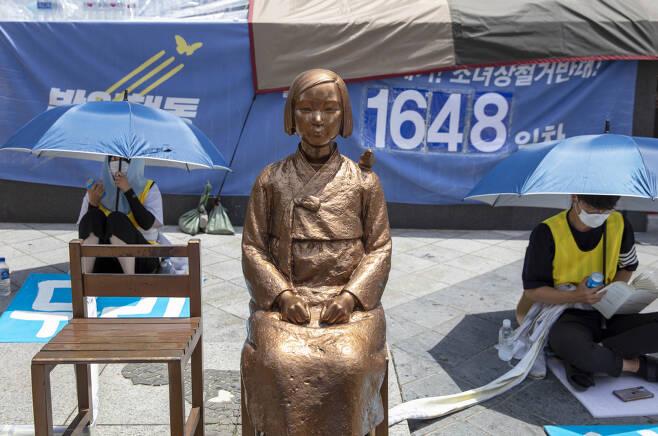 지난 3일 오후 서울 종로구 옛 주한일본대사관 맞은편 평화의 소녀상 모습. [연합]