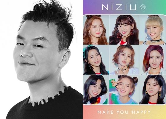 박진영 JYP엔터테인먼트 대표 프로듀서와 걸그룹 니쥬(NiziU) /사진=JYP엔터테인먼트