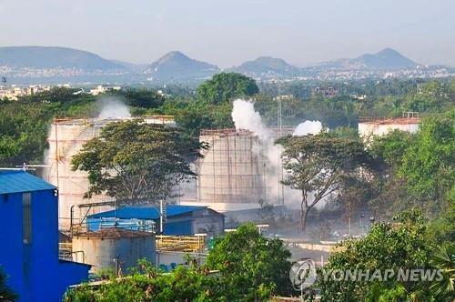 5월 7일 가스 누출 사고가 발생한 인도 LG폴리머스 공장 [AFP=연합뉴스]