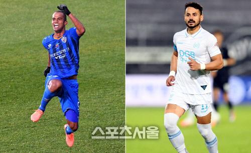 2020시즌 K리그1에서 첫 맞대결을 벌이는 울산 현대 주니오(왼쪽)와 대구FC 세징야. 김도훈·최승섭기자