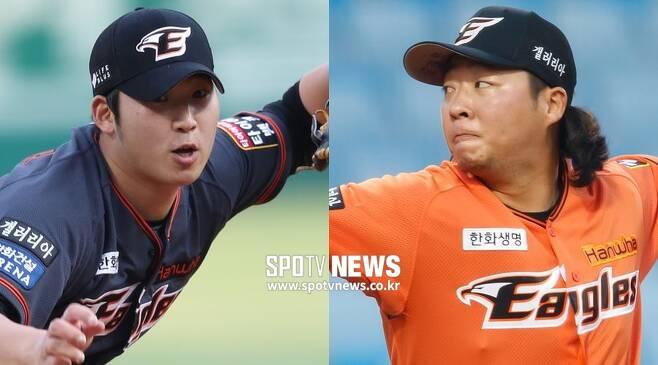 ▲ 한화 마운드의 미래로 확실히 각인되고 있는 김민우(왼쪽)와 김범수 ⓒ한희재 기자 ⓒ곽혜미 기자