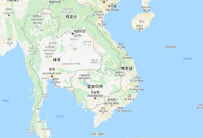 """베트남·캄보디아·라오스 """"85일 이상 코로나 '0'"""" [구글 지도 캡처. 재판매 및 DB 금지]"""