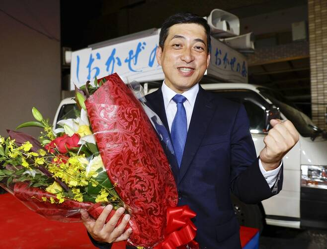 가고시마현 지사 선거에 당선된 시오타 고이치 [가고시마 교도=연합뉴스] 2020.07.12