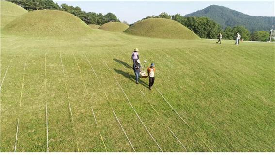 부여 능산리 중앙고분군의 물리탐사 작업 광경. 지난해 찍은 사진이다.