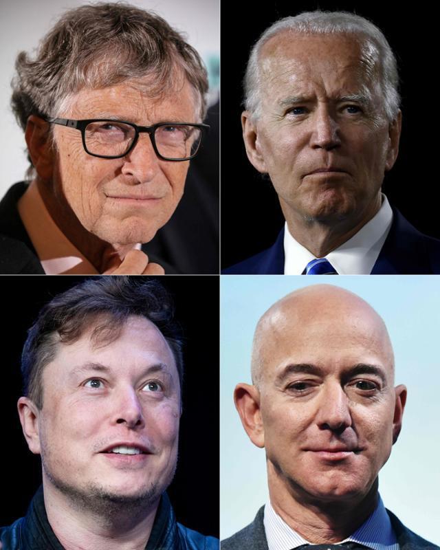 15일 빌 게이츠(왼쪽 위부터 시계방향) 마이크로소프트 창업자, 조 바이든 전 부통령, 제프 베이조스 아마존 최고경영자, 일론 머스크 테슬라 최고경영자 등 미국 유명인사들의 트위터 계정이 무더기 해킹당했다. AFP 연합뉴스