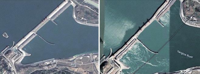 구글 어스가 제공한 중국 후베이성 싼샤댐의 과거와 현재 모습. 왼쪽은 완공 직후인 2009년, 오른쪽은 최근 사진이다. 댐 구조가 상당히 뒤틀린 것처럼 보여 논란이 됐다.트위터 캡처