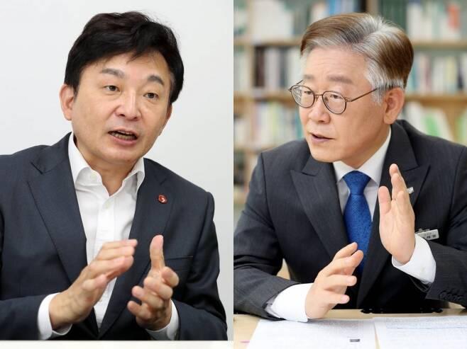 사진 왼쪽부터 원희룡 제주지사, 이재명 경기지사./사진=이기범 기자