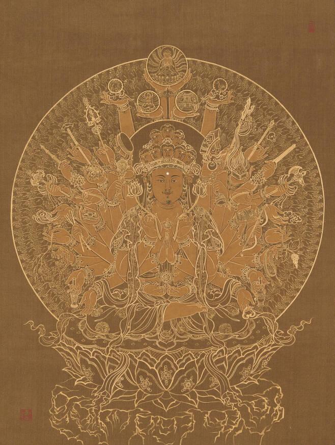 한국전통문화대학교 권지은-천수십일면관음보살(千手十一面觀音菩薩)-견본금박,60×44cm,2020