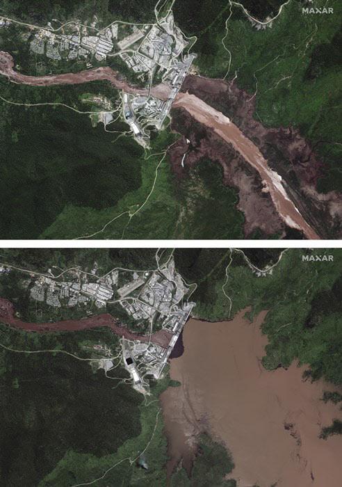 청나일강에 건설된 그랜드 에티오피안 르네상스 댐의 모습. 지난 6월12일에 찍힌 위성 사진(위)엔 물이 많지 않지만, 7월12일에 찍힌 위성사진(아래)엔 계곡을 가득 채울 정도로 물이 불어나 있다. /AP 연합뉴스