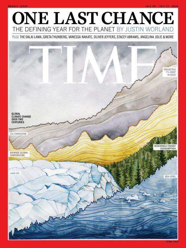 """기후위기를 커버 스토리로 다룬 지난 20일자 미국의 시사주간 타임지 표지. 'ONE LAST CHANCE', 마지막 기회라는 제목을 붙였다. 2020년이 기후위기를 막을 수 있는 마지막 해라는 내용을 다뤘다. 조천호 전 국립기상과학원장은 """"우리는 기후위기를 인식한 첫 번째 세대이자 기후위기를 막을 수 있는 마지막 세대""""라고 말했다. 타임 홈페이지 캡처"""