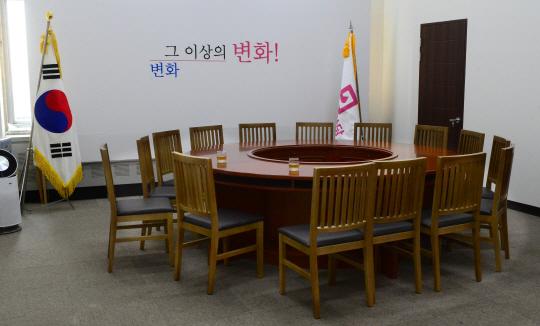 회의없는 통합당 : 31일 오전 국회 미래통합당 비상대책위원회 회의실이 아무 일정이 없어서 텅 비어 있다.   신창섭 기자