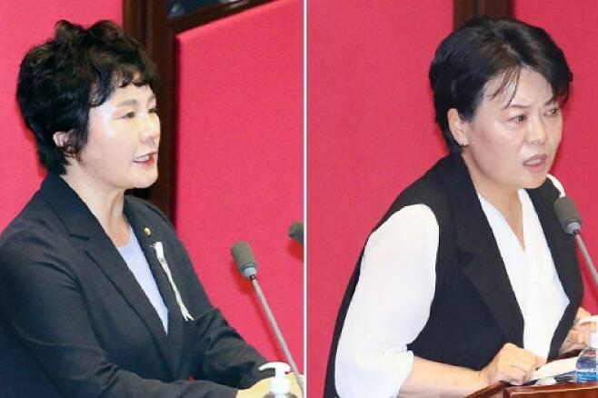 미래통합당 조수진 의원과 윤희숙 의원의 반대 토론. (사진=연합뉴스/자료사진)