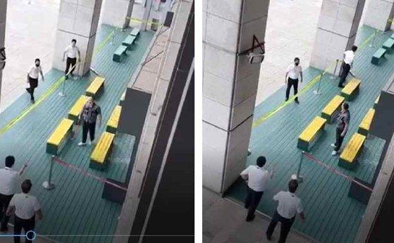 5일 미상의 남성이 KBS 라디오 스튜디오 유리창을 곡괭이로 내려친 뒤 KBS 시큐리티 직원들을 바라보는 모습 [동영상 캡쳐]