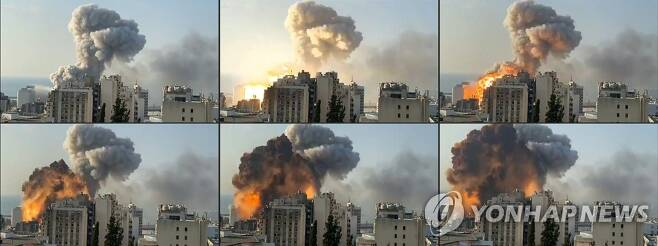 레바논 베이루트 항구의 대규모 폭발 모습 (베이루트 AFP/MOUAFAC HARB=연합뉴스) 레바논 수도 베이루트의 항구에서 4일(현지시간) 대규모 폭발이 일어나 연기와 함께 불덩어리가 버섯 모양으로 하늘로 치솟는 모습. [재판매 및 DB 금지] leekm@yna.co.kr