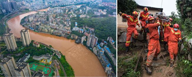 7월 1일 중국 충칭시에 홍수가 나 시내를 가로지르는 하천이 누렇게 흐르고 있다(왼쪽). 7월 10일 중국 후베이성 황메이현에서 폭우로 산사태가 일어나 구조대원들이 잔해 속에서 인명을 구조해 이동하고 있다. [신화=뉴시스]