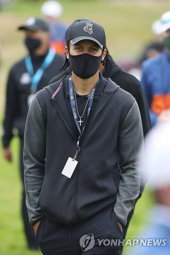PGA 챔피언십 최종 라운드 현장 찾은 커리 [게티이미지/AFP=연합뉴스]
